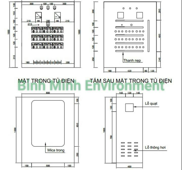Thi công lắp đặt tủ điện xử lý nước thải - Thiết kế vỏ tủ điện